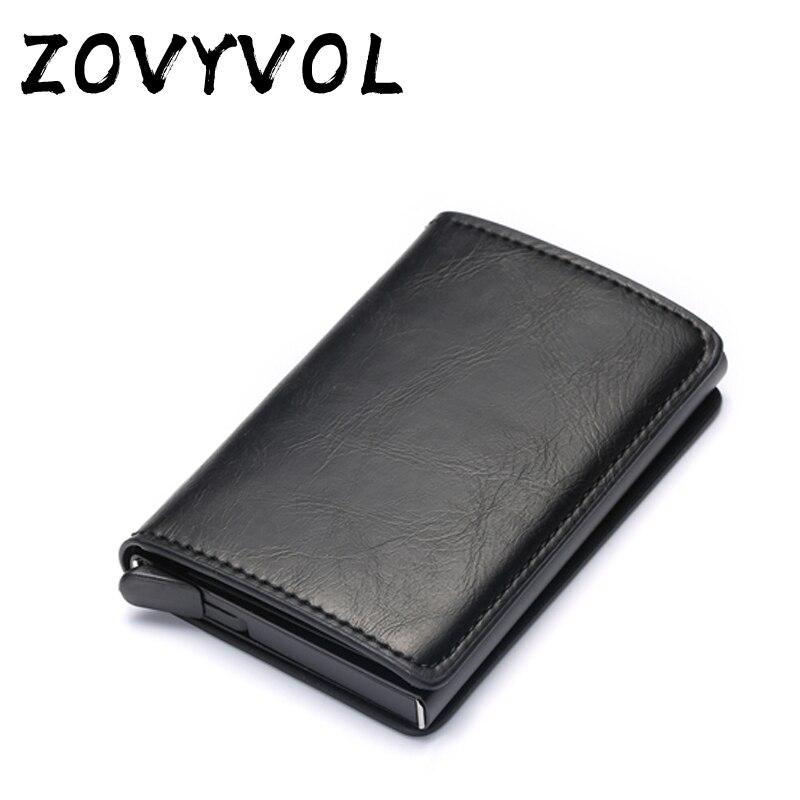 ZOVYVOL Rfid Blocking Bank Credit Card Holder Men Carbon Fiber Minimalist Aluminium Metal Wallet Slim Business Cardholder Case