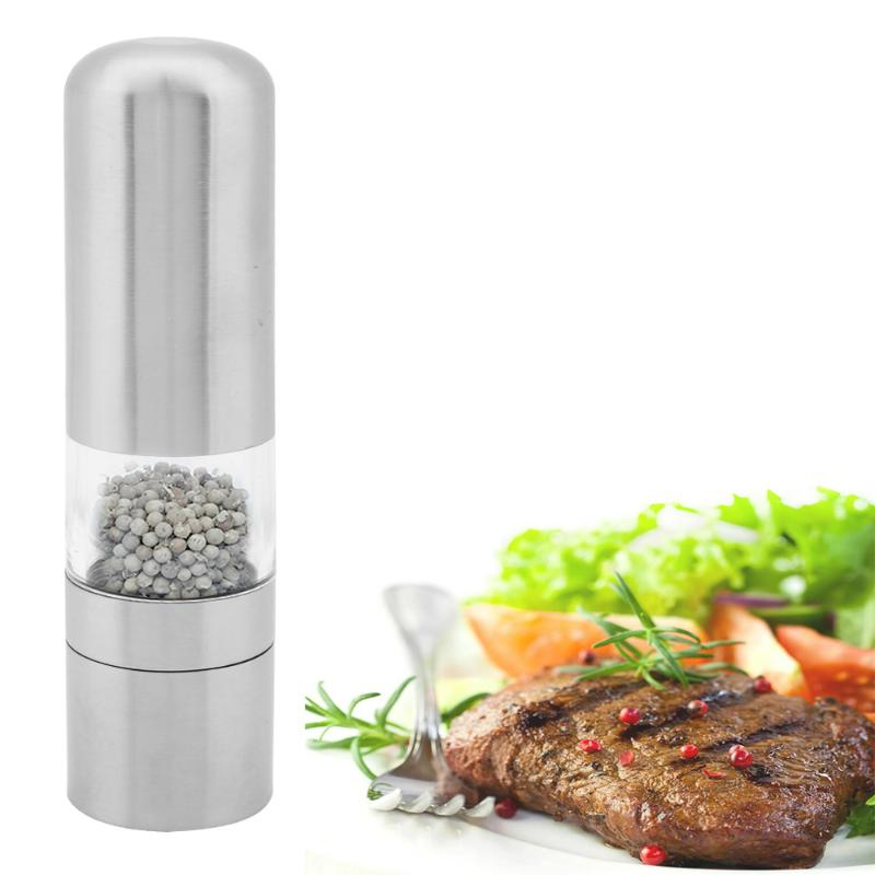 Stainless Steel Manual Pepper Mill Spice Grinder Kitchen Cooking Tool Kitchen Acrylic Household Pepper Muller Spice Sauce Grindi portable stainless steel electric pepper spice salt milling grinder red silver 6 x aaa