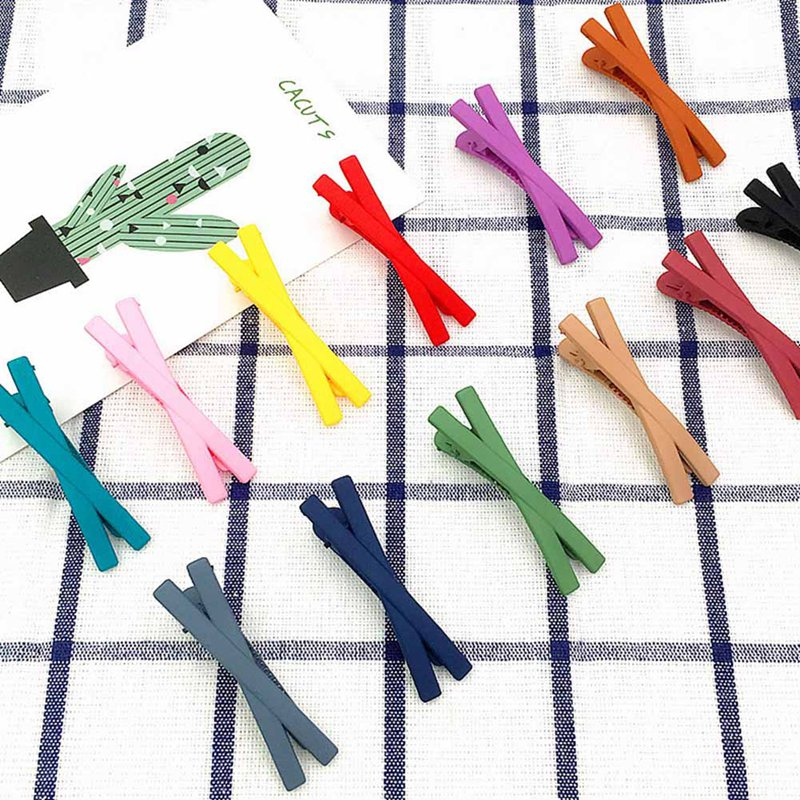 Girls Kids Hair Clips Barrette Accessories For Women Hairgrip Hairclip Headdress Candy Color Small Cross Hairpin