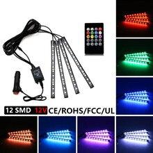 4 x светодио дный 36 LED автомобиля зарядки 12 В в 10 Вт Glow Интерьер Декоративные Атмосфера синий внутри ног свет лампы с дистанционное управление