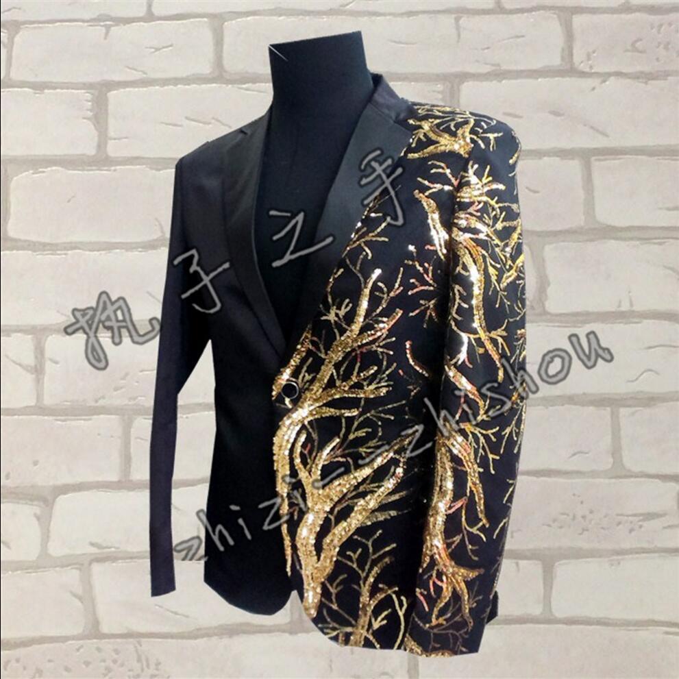 S-4XL New Slim Hommes Concert Costumes Blazer Rouge/Noir Veste Or Paillettes Broderie Mode Hôte de la Performance de Scène de la Chanteuse Costume