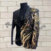 S 4XL New Slim Men Concert Suits Blazer Red/Black Jacket Gold Sequins Embroidery Fashion Performance Host Singer Stage Costume