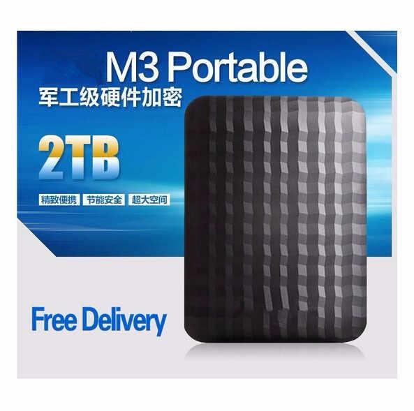 """3 سنة WarrantyM3 2.5 """"1 TBNew USB3.0 قرص صلب خارجي 2 تيرا بايت الأسود HDD hdd المحمولة القرص حار المبيعات"""