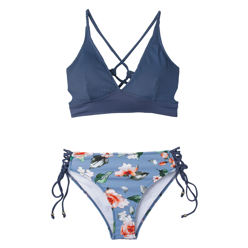 HTB11cBuRhnaK1RjSZFBq6AW7VXad CUPSHE Sexy Blue And Floral Lace-Up Bikini Sets Women Boho V-neck Two Pieces Swimsuits 2019 Girl Beach Bathing Suit Swimwear
