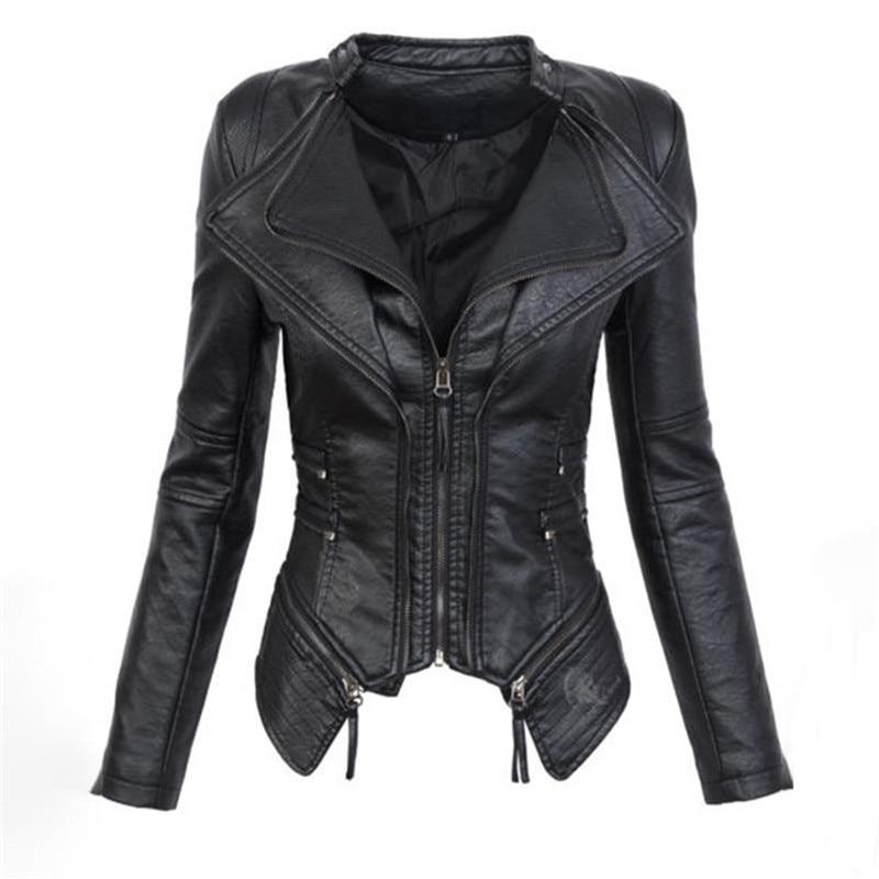 Gótico couro falso PU Mulheres Jaqueta de Inverno Moda Outono Motocicleta Jaqueta de couro Preto faux casacos Outerwear Casaco