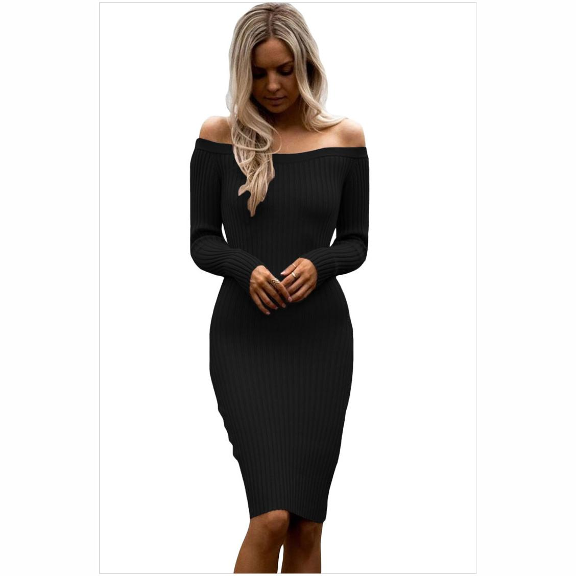 Fashion Long Sleeve Off Shoulder Slash Neck Sexy Club Women Dress Slim Bodycon Knitted Sweater Party Night Dresses criss cross slim knitted dress sexy female v neck long sleeve mini dresses charming spring club party bodycon robe dress sws023