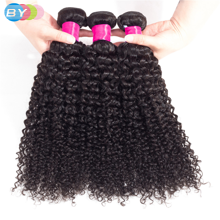 BY Kinky Curly Bundles Remy Human Hair Extension Natural Color 8 26inches 3 Pcs Brazilian Hair
