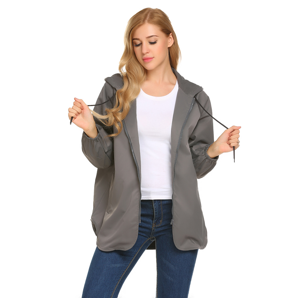 Meaneor 2017 New Autumn Women Casual Trench Coat Hooded Long Sleeve Solid Asymmetrical Cape Style Windbreaker Rain Coat Tops