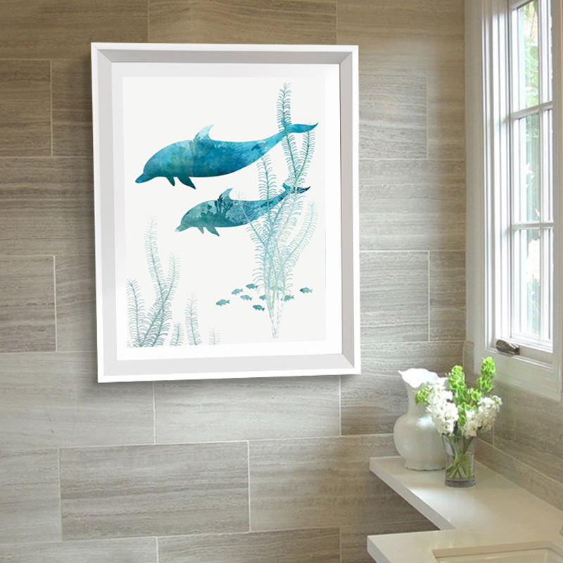 Us 3 49 50 Off Modern Whale Prints Ocean Canvas Paintings Bathroom Posters And Printings Nordic Scandinavia Wall Art Pop Pictures Home Decor In