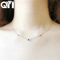 QYI Women Gold Chain 18K Yellow Gold Necklace Real Natual Moonstone Blue Sapphire Diamond gift Valentine's Day Gift Link Chain