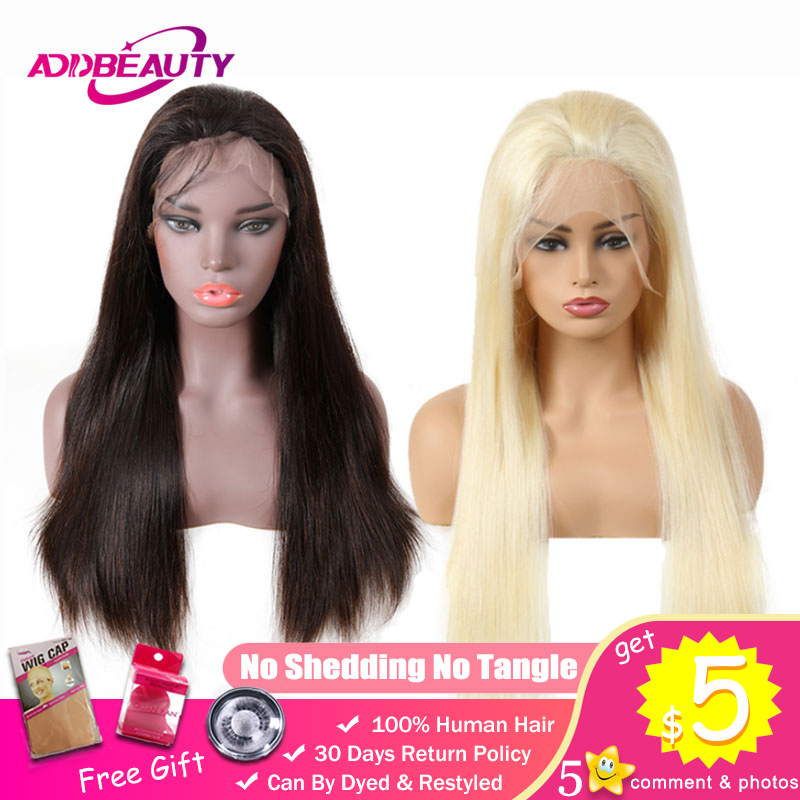 13x4 Lace Front Closure Wig Unprocessed Virgin Human Brazilian Straight Hair Natural Black Blonde 613 Color