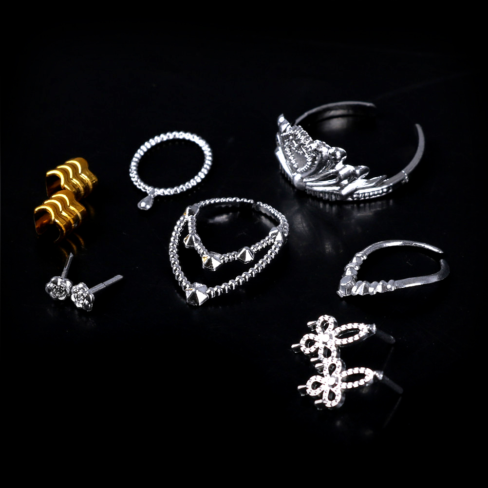 10Pcs/Set Necklace Bracelet For Doll Girls Crystal Plastic Sliver Crown Headband Headwear Doll Accessories