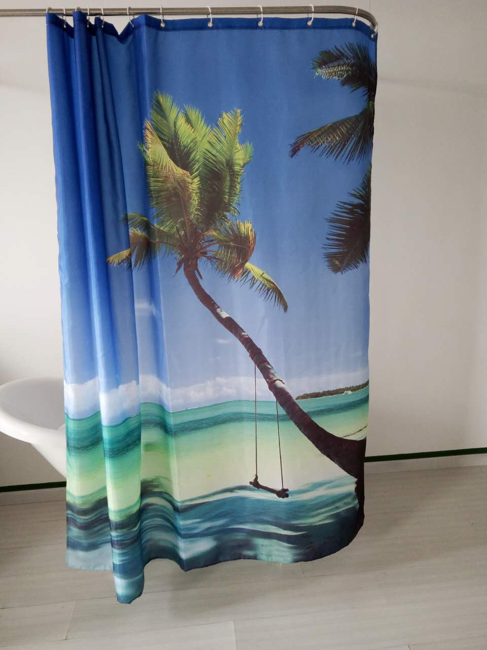 Blue bathroom curtains - Coconut Tree Blue Sky Kitchen Drapes Sand Beach Design Waterproof Shower Bathroom Curtains 180 180cm