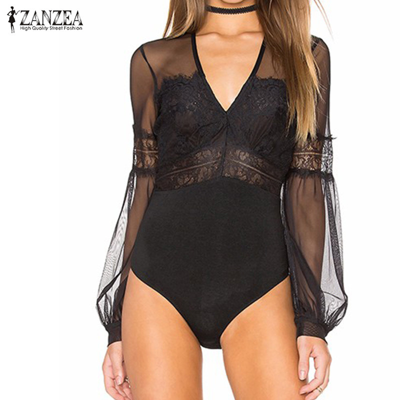 New Arrival 2018 ZANZEA Rompers Womens Jumpsuit Sexy Lace Bodysuit Lantern Sleeve Sexy Vintage Mesh See Through Overalls