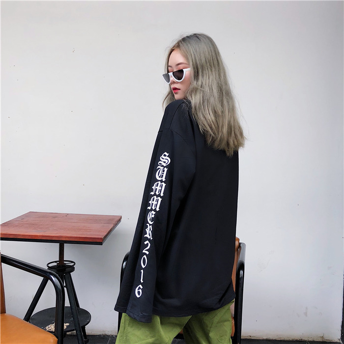 T-shirt Women Autumn O-Neck Letter Printed Loose Long BF Harajuku T-shirt Womens Korean Style Trendy Hip Hop Students Tees Chic 7