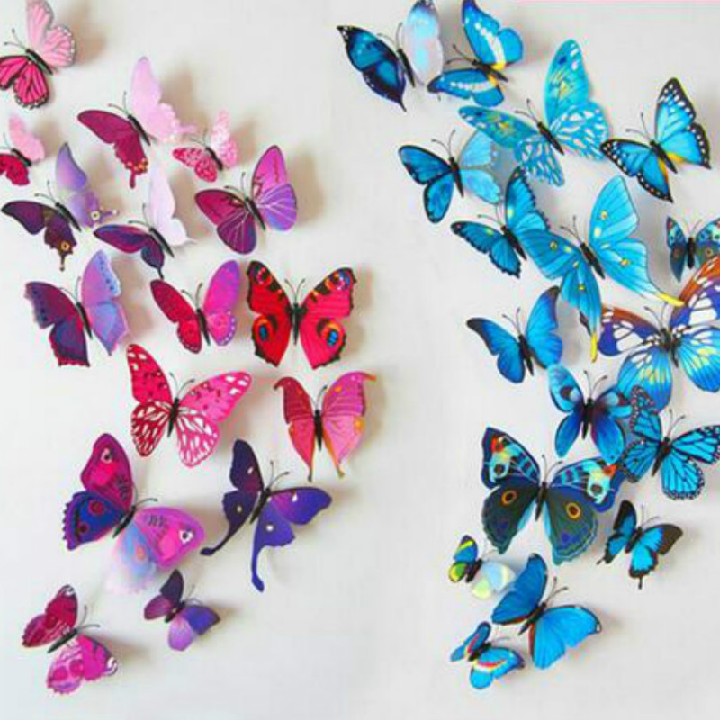 12 pcs lot pvc 3d diy butterfly wall stickers home decor for Butterfly decorations for home