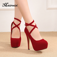 MAIERNISI new fashion Pumps Women Flock Brand Platform Plus size high heel shoes nightclub Ladies 14cm heel Luxury pumps shoes