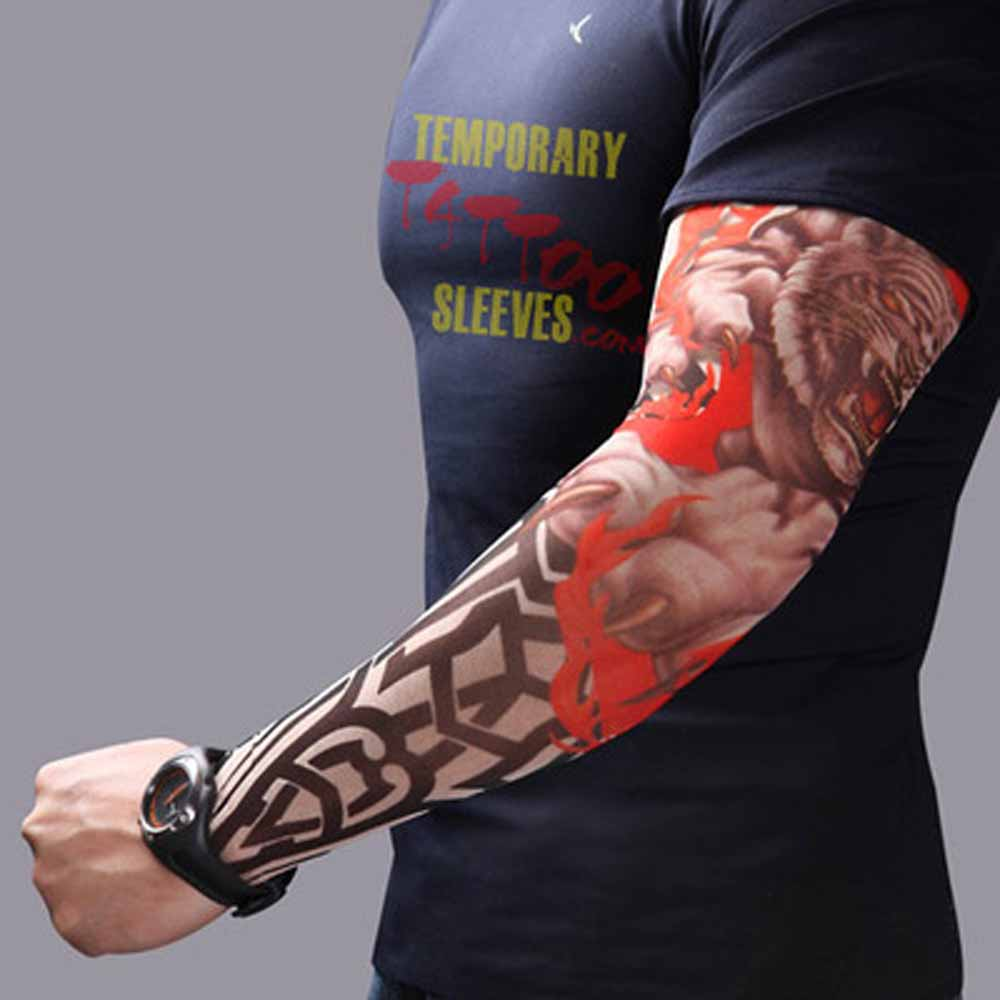 1 Pcs Outdoor Cycling Tattoo Printed Arm Sleeves Sun Breathable Quick Dry UV Protection Bike Basketball Sport Arm Sleeves Summer