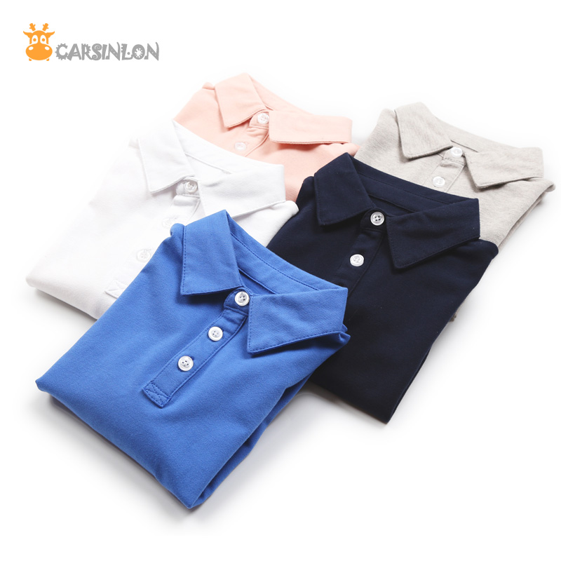 2018 Autumn Winter High Quality Boys Shirts Polo kids Long Sleeve Cotton Thin Breathable Fabric Children White Sports Tops Tee
