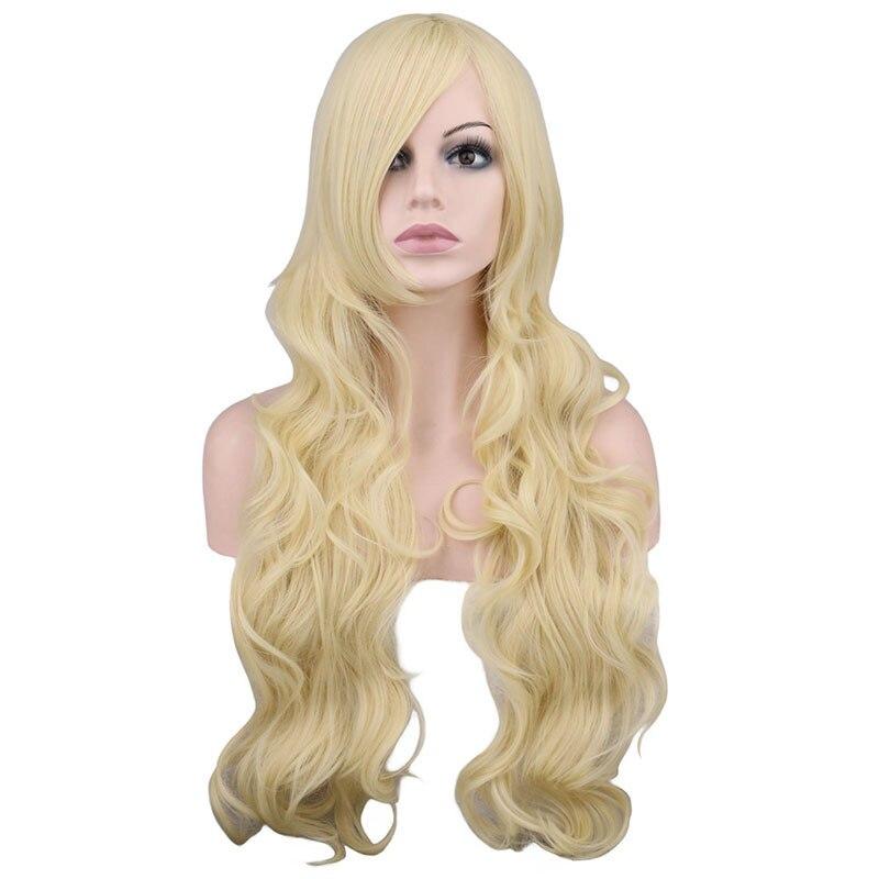 QQXCAIW Lange Wellenförmige Cosplay Schwarz Lila Weiß Rot Rosa Blau Blonde Orange Splitter Grau 80 Cm Synthetische Haar Perücken
