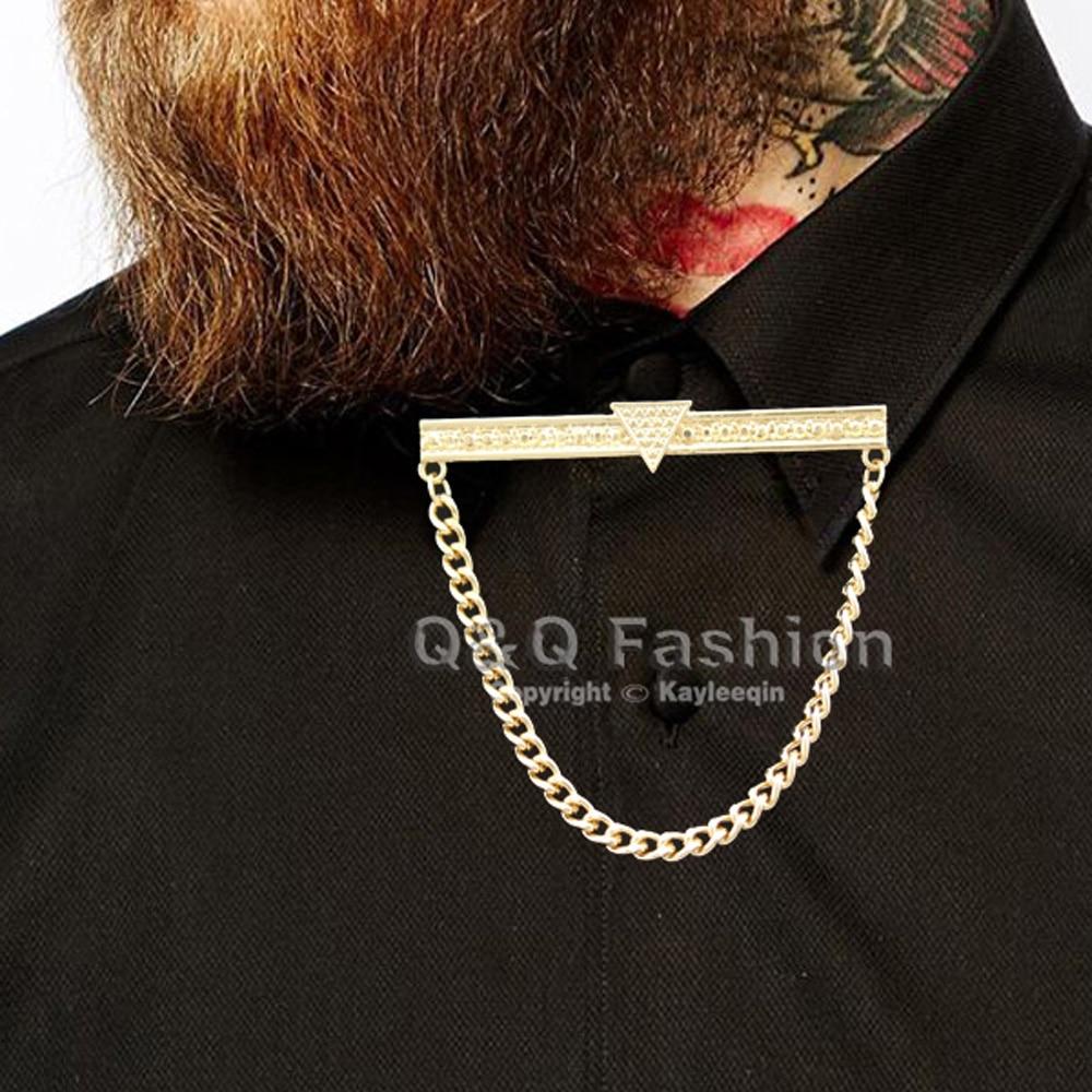 Men Gold Triangle Dot Chain Shirt Collar Tie Bar Brooch Lapel Pin Jewelry  Fancy Dress Cosplay Badge