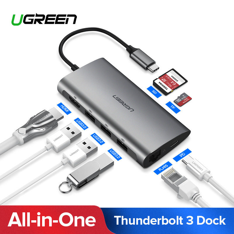 Ugreen Thunderbolt 3 Dock Adapter USB Typ C zu 3,0 HUB HDMI Typ-C Konverter für MacBook Huawei Mate 20 P20 Pro USB-C Adapter