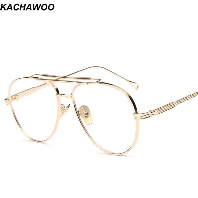 cdaf51b404a Kachawoo metal eyeglasses frames men clear lens gold silver flat top style  eye glasses frames for