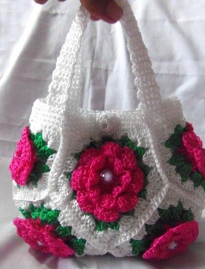 2016 New Arrival Spring Bags Handmade Crochet Handbags Travelling Flower  Handbags Fresh Style Mori Girl Bag