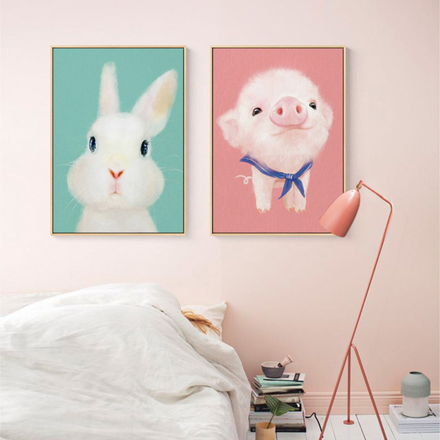 Online Shop Nordic Style Cartoon Cute Pink Pig Posters And Prints ...