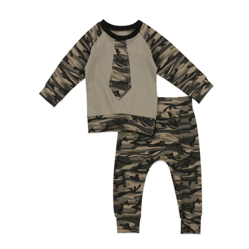 Newest Camo Clothes Toddler Newborn Kids Baby Boys Outfits Full Sleeve Necktie T-shirt Tops Long Pant 2pcs Set Tracksuit Costume