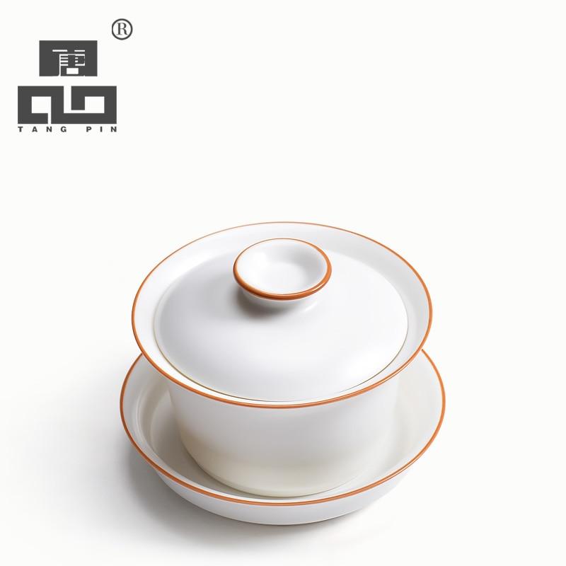 TANGPIN white ceramic teapot gaiwan tea cup porcelain chinese kung fu tea-setTANGPIN white ceramic teapot gaiwan tea cup porcelain chinese kung fu tea-set
