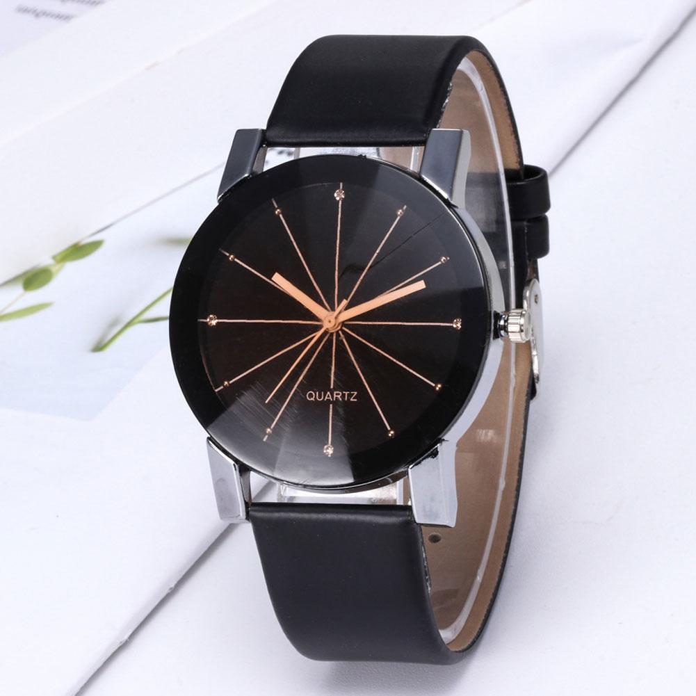 Simple Round Dial Linear Analog Faux Leather Band Women Quartz Wrist Watch Gift