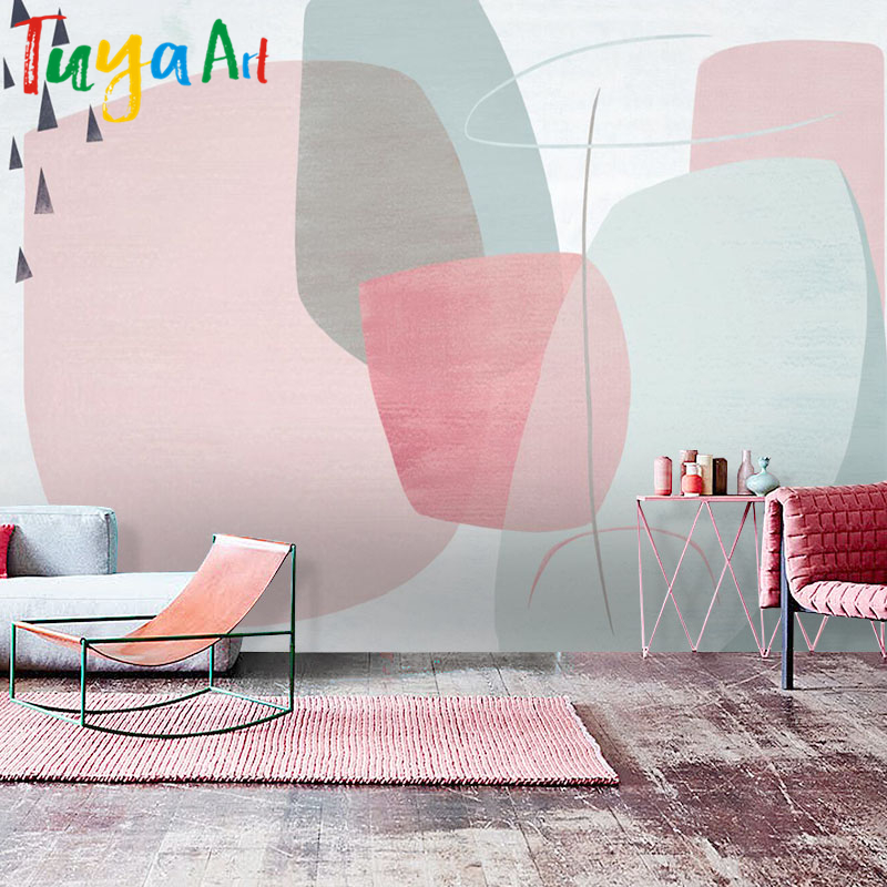 Tuya Art Free Shipping simple pink sketch abstract wallpaper modern ...