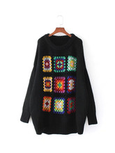 Boho Women Sweater 2017 Winter Lattice Floral Crochet Drop Shoulder Pullovers Casual Warm Knitted Christmas Sweaters Plus Size