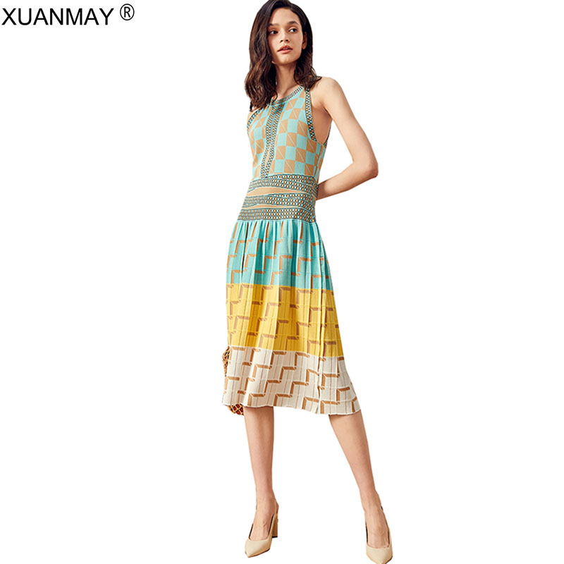 2019 Summer Over The Knee Long Style Bohemia Dress Elegant Maxi Dress Fashion Snow Plaid Dress Women Summer Sexy Party Dress Attractive And Durable
