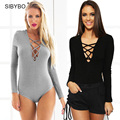 New 2016 T-shirt Spring Sexy  V Neck Cross Ribbed Knited LadiesTops Women T Shirt  Lace up Long Sleeve Hollow Out Top