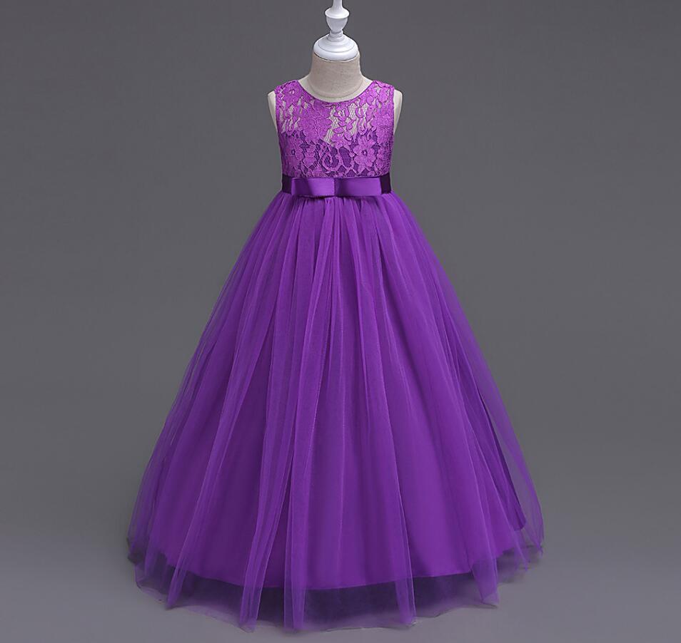 New Children Teenage Baby Lace Bow Mesh Long Dresses, Girls Princess Party Dress 6 pcs/lot, Wholesale