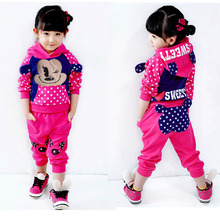 New Autumn Winter Kids Clothes Set Children Clothing Set Girls Cartoon Hooded Sweater Pants Sets Korean Children Baby 2pcs Set