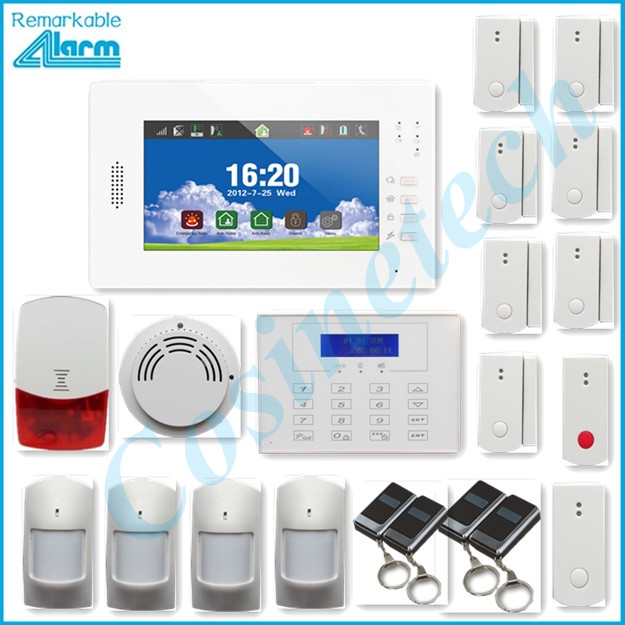 Big promotion Smart home security GSM alarm system,support IOS Android APP 868MHZ GSM alarm system with 7 inch touch screen big promotion 100