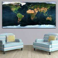 Blue Huge Earth Map Art Wall Painting Print On Canvas Decor Oil Painting Arts No Framed Wall Pictures Canvas Printings Abstract