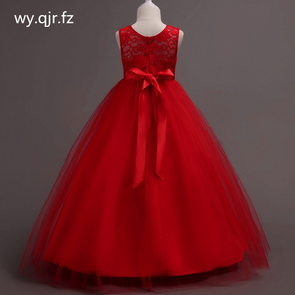 BH9999R#Red   Flower     Girl     Dresses   New children's wedding Party long fluffy   girl's   Lace Princess   dress   prom gown cheap Wholesale