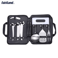 Lightweight Compact Cookware 8 Pieces Kit Cookset Backpacking Gear Hiking Outdoors Cooking Equipment With Storage Case