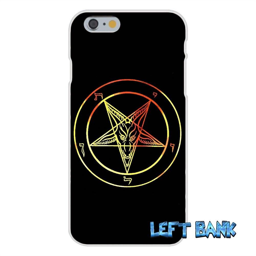 For iPhone 4 4S 5 5S 5C SE 6 6S 7 Plus satan pentagram occult evil Logo Soft Silicone TPU Transparent Cover Case