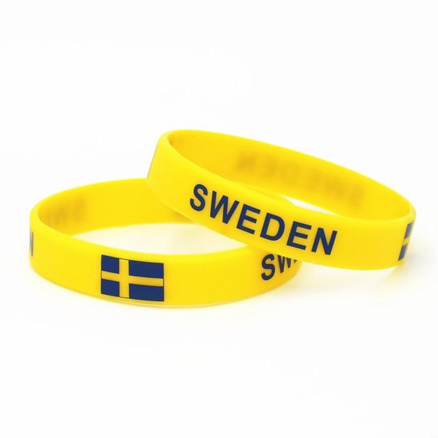 1PC Sweden Flag Silicone Wristband Football Soccer Team Fans Sports Elastic Rubber Bracelets&Bangles Armband SH240