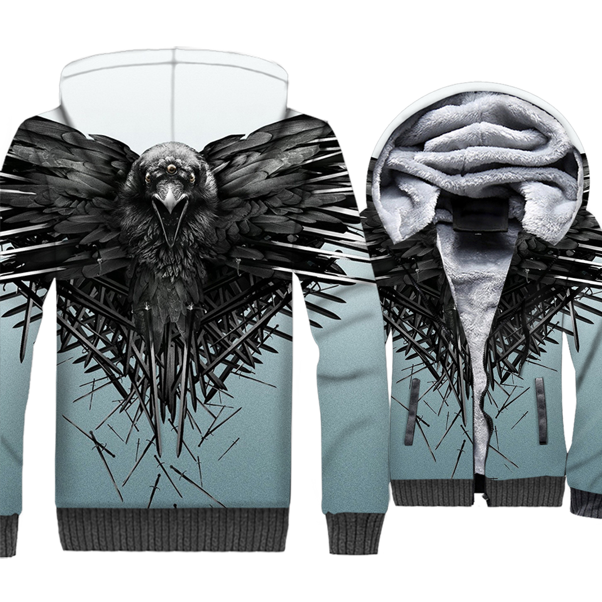 Game Of Thrones 3D Jacket Hoody 2018 Autmn Winter Fashion Thick Sweatshirt Men Three-eyed Crow Hip Hop Streetwear Men's Hoodies