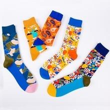 PEONFLY Autumn Winter New Product Cartoon Abstract Creative Pattern Stockings Socks men Happy Art harajuku hip