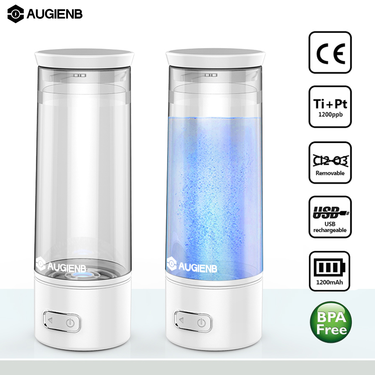 Augienb USB Rechargable High-Rich Hydrogen Water Bottle Ionizer Generator Hydrogen Oxygen Separation Alkaline Energy Cup Filter 380ml usb hydrogen water generator rechargeable portable water ionizer bottle electrolysis energy hydrogen rich antioxidant cup