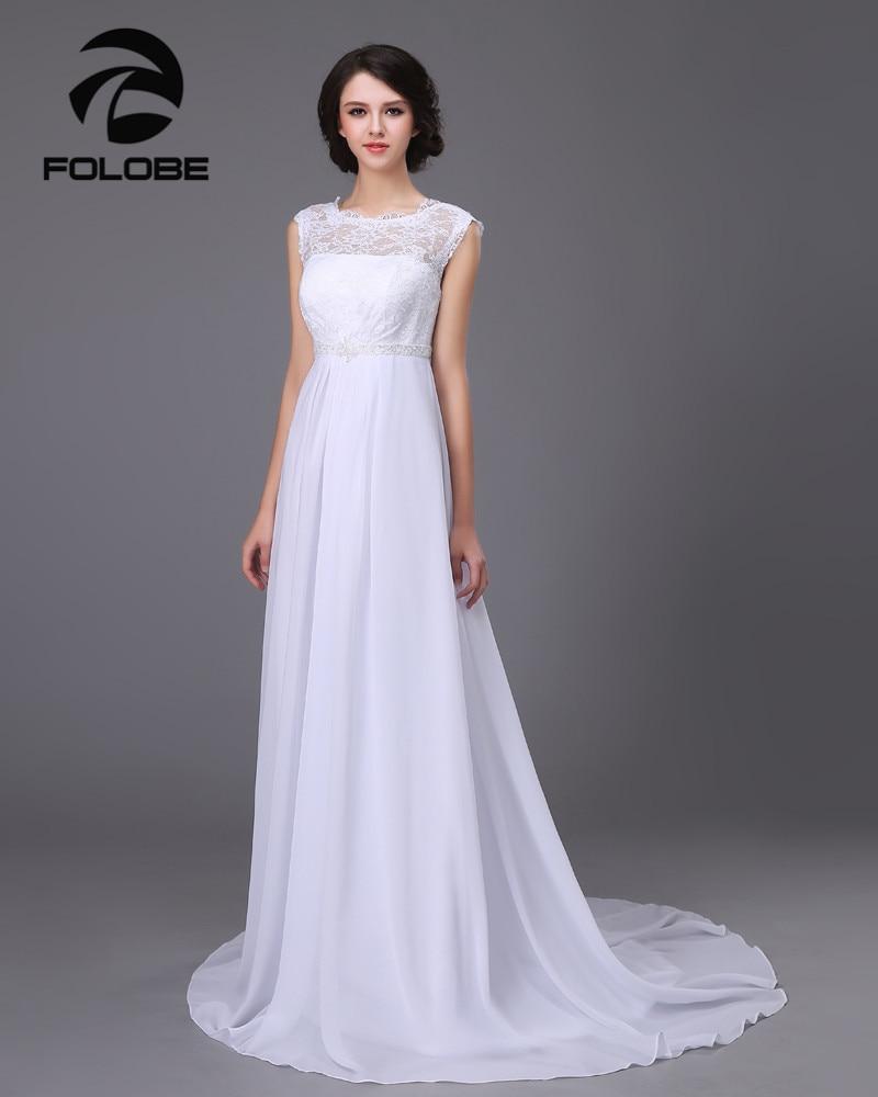 a5312031d73 Hot Sale Simple White Ivory Beading Lace Vestidos De Noiva Chiffion  Backless Beach A-line Wedding Dresses Bridal Gowns Plus Size