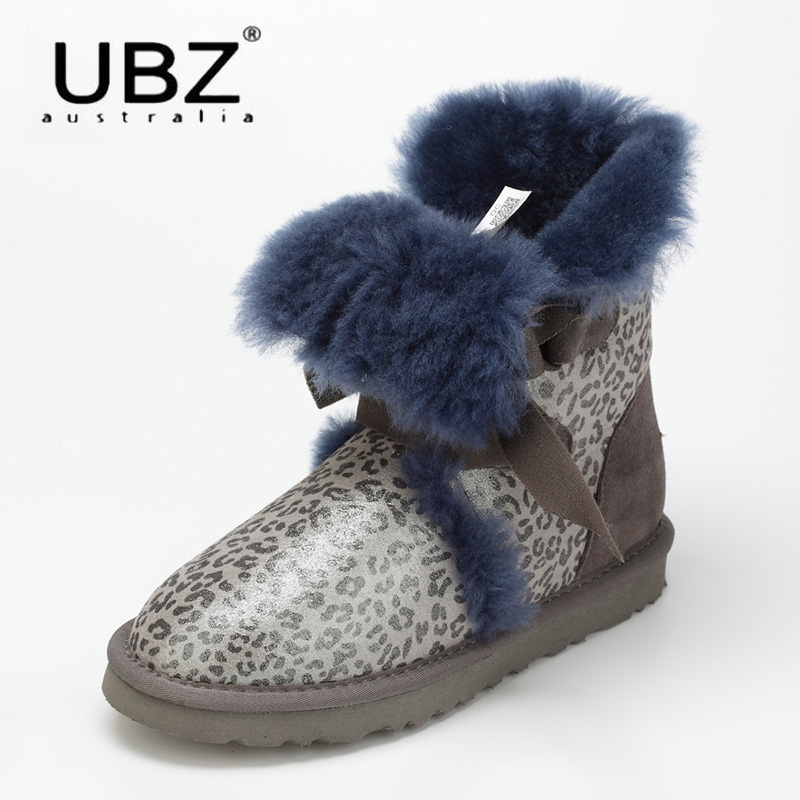 UBZ Australia Natural Sheepskin Fur Snow Boots Female Winter Botas Mujer Warm Flat Heel Bandage Boots Calf Height Free shipping