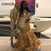 Plus Size Gold Sequin African Mermaid Evening Dresses 2019 V Neck Long Sleeve Flowers Skirt Black Girl Formal Prom Party Dress